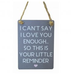 Small metal sign withe cute love message and pink heart illustration, finished with curved edges and jute string to hang