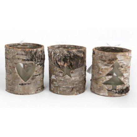 Round Bark T Lite Holder 8cm