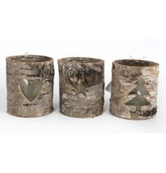 Assorted Tlight holders with a woodland style bark effect
