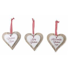 Chic nordic style double wooden heart decoration with gingham ribbon and white jingle bells.