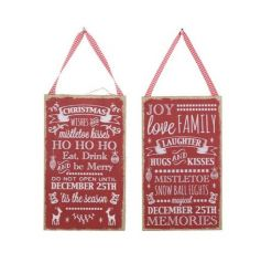 Stylish red and white festive signs with gingham ribbon to hang.