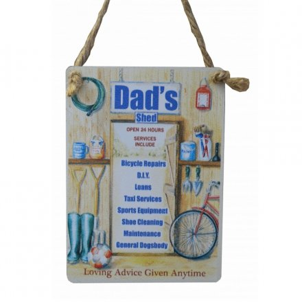 Dads Shed Mini Metal Dangler Sign