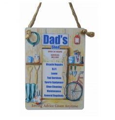 An attractive mini metal sign with dad's services listed and jute rope to hang.