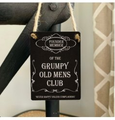 A humorous scripted mini metal sign with a comical and popular inspired text decal