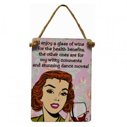 Wine Health Benefits Mini Dangler Metal Signs