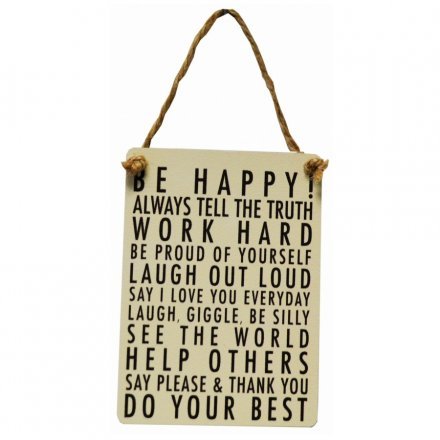 Be Happy! Mini Metal Dangler Sign