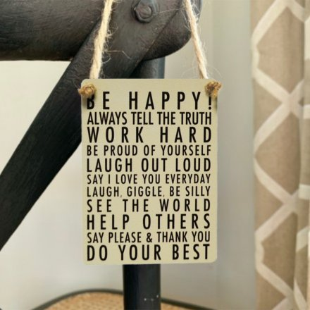 A charming little mini metal sign featuring a scripted quote text