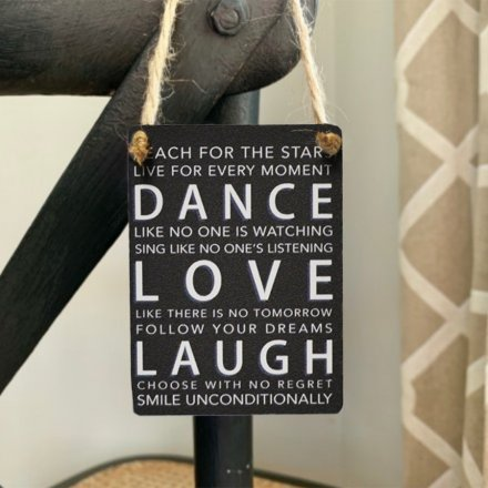 A black toned mini metal sign complete with a scripted text decal and jute rope hanger