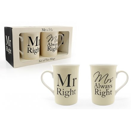 Mr and Mrs Right Mugs Set (2)