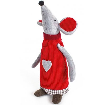 Fabric Standing Mouse Xmas 30cm