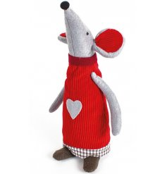 A cute standing fabric mouse dressed up in festive red colours
