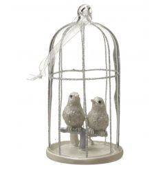 Stunning glass bird cage with champagne coloured birds, glitter decoration and ribbon.