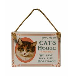 A mini metal sign with a vintage inspired decal and illustrated cat