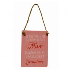 A pretty pink toned mini metal hanging sign with a sentimental scripted text dedicated to special mums