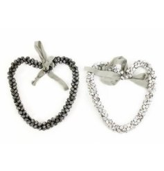 Chic heart garland made from bells with grey cotton ribbon to hang.