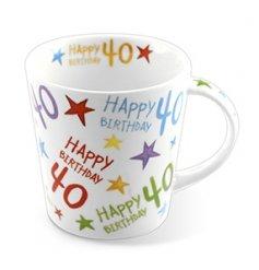 Boxed China mug from the Rainbow range with Happy Birthday 40 print