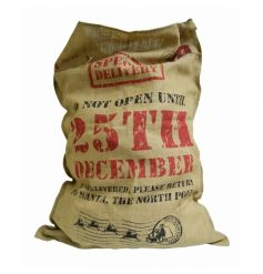 XL Special Delivery hessian toy sack with Santa Claus express stamp and festive text.