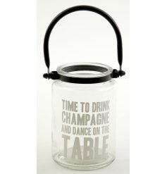 Hanging glass candle holder with popular quote. A decorative item for your home or for a wedding