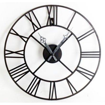 Black Roman Numeral Clock, 40cm