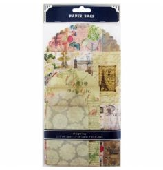 A pack of 6 stunning paper bags in various vintage, floral and parisian designs.
