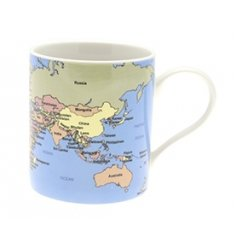 An educational china mug printed with a map of the world