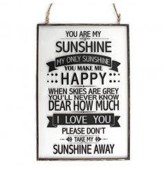 Stylish hanging glass plaques with metal frame and popular quote