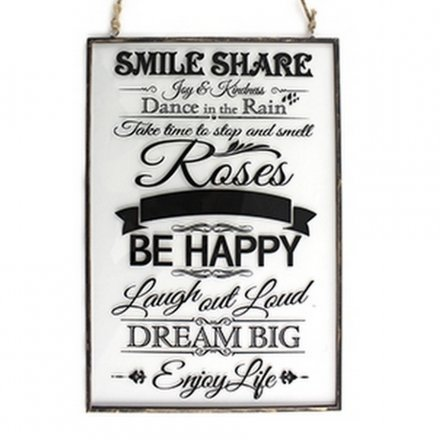 """""""Be Happy And Smile"""" Hanging Signs"""