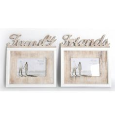2 Assorted wooden frames in a two tone colour with Friends and Family cut out