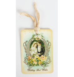 A vintage wedding gift tag with best wishes quote