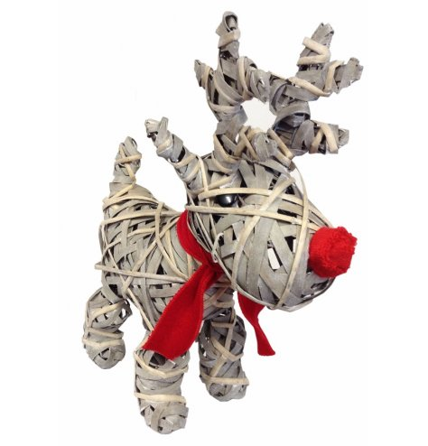 A standing rustic woven reindeer decoration with a red fabric nose and scarf.