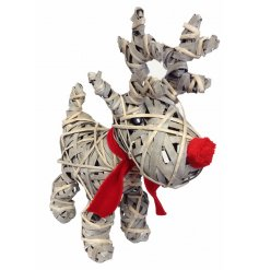 A cute festive reindeer decoration made from willow with a red fabric nose and scarf.