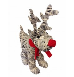 A fabulous standing reindeer made from willow with a red fabric nose and scarf.