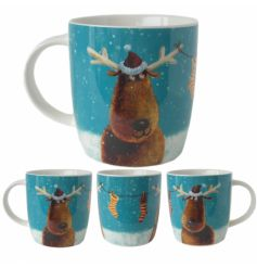 China mug with festive winter image and matching gift box