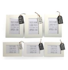 Wooden photo frames in an assortment, each with sweet tag decoration to finish