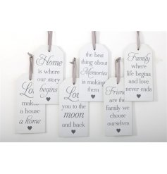 6 Assorted tag style wooden plaques, each with sweet message and ribbon to hang