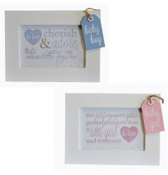 Cream wooden picture frames in an assortment with pink and blue tag decorations