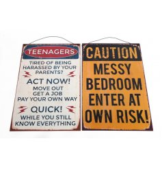 A mix of two rustic metal teenager signs with a distressed finish.