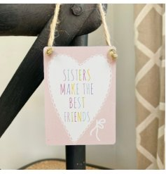 Pretty pastel sign with lace heart motif, multi-coloured sister text and jute string to hang.