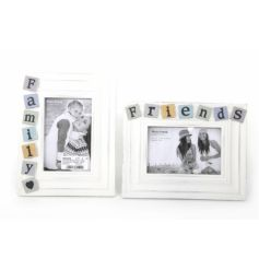 4 x 6 white wooden frames with pastel coloured friends and family details.