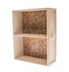 Chic wooden display shelves with floral pattern and distressed finish