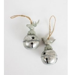 Rustic silver bell decoration with deer and bird head. A chic and classy addition to the festive tree.