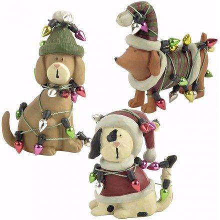 Set of 3 Xmas Dogs