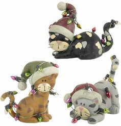 A set of 3 cute and quirky festive cats wrapped in colourful fairy lights.