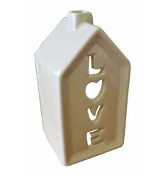 Cream house shaped Tlight holder with LOVE cutout