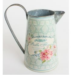 Pastel coloured tin jug from Heaven Sends with Belle Fleur print and pretty patterns