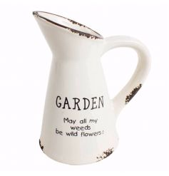 Garden style ceramic jug with text and distressed finish