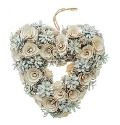 Heart shaped wreath from Heaven Sends with woodland design and snow finish