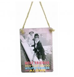 'Best Friends don't let you do the stupid things alone' mini metal sign