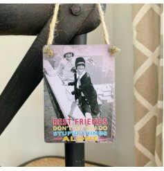 A vintage style mini metal sign reading 'Best Friends don't let you do the stupid things ALONE'.