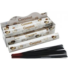 A sweet set of incense sticks with a calming and relaxing scent of Coconut, perfect aromatic accessories for any home in
